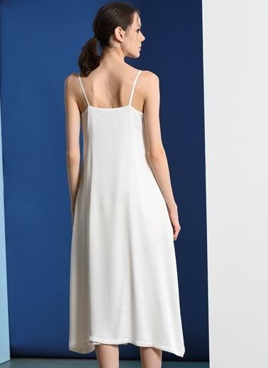 Zeynep Ökmen Altın Rengi Güneş Nakışlı Önden Düğmeli Askılı Tunik Beyaz